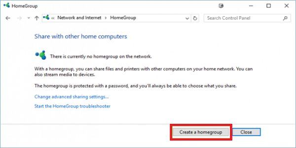 Create a HomeGroup